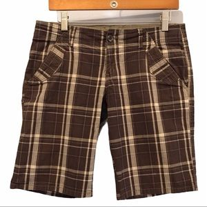 Roots brown plaid women's shorts size 8